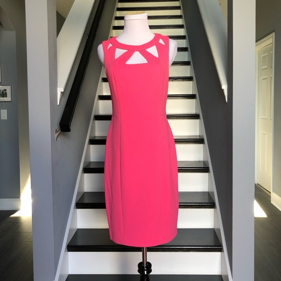 Eliza J Dresses & Skirts - Eliza J Hot Pink Cutout Sheath Dress 4